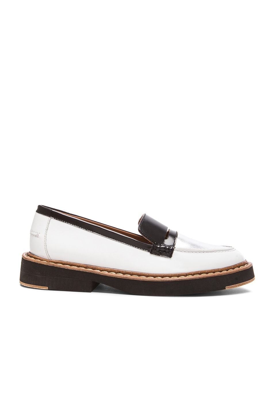 Image 1 of Flamingos Walton Leather Loafers in Black, Silver, & White
