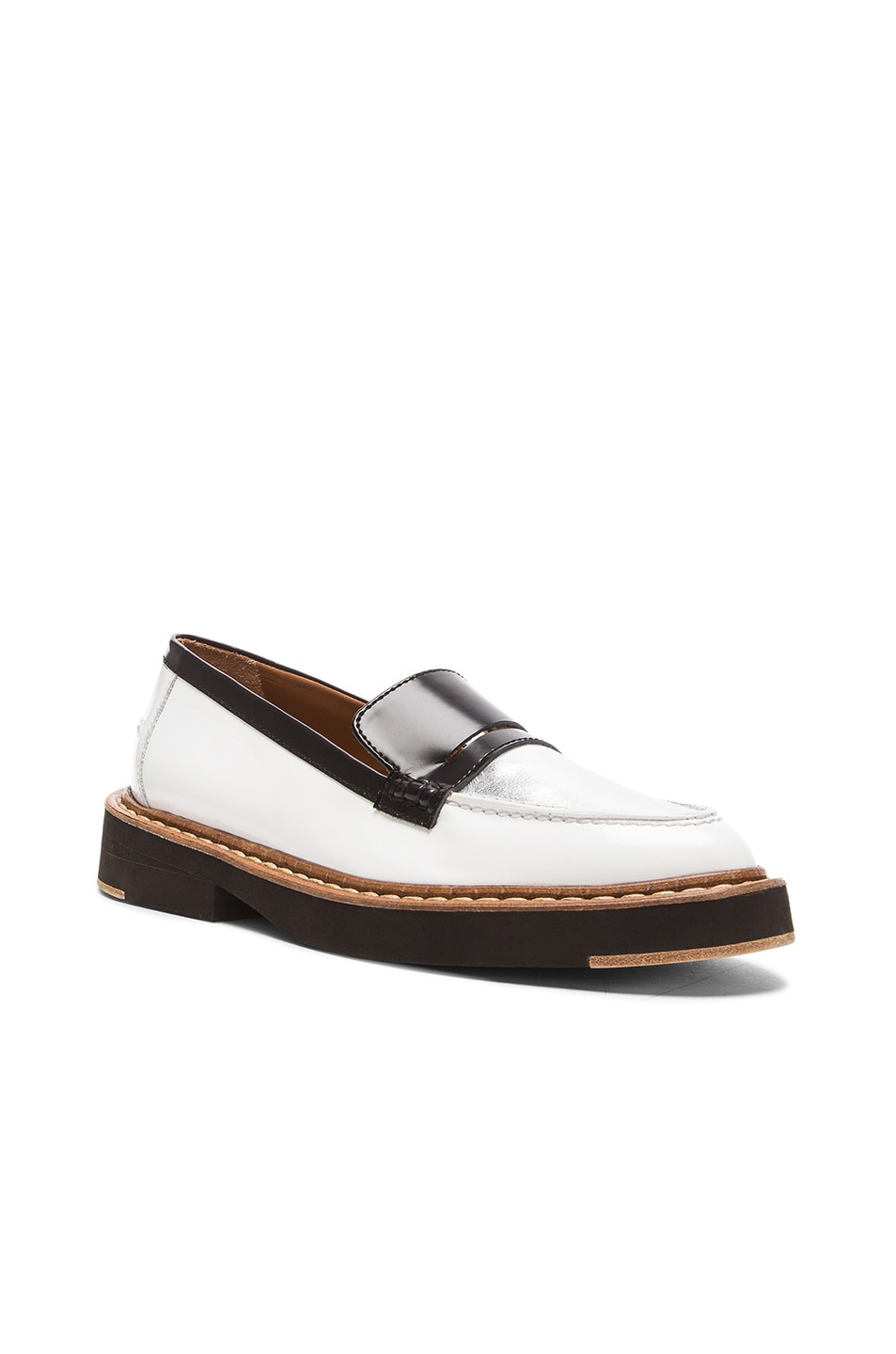 Image 2 of Flamingos Walton Leather Loafers in Black, Silver, & White