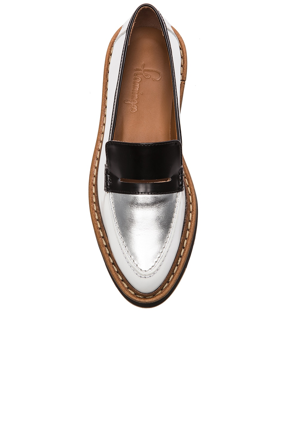Image 4 of Flamingos Walton Leather Loafers in Black, Silver, & White