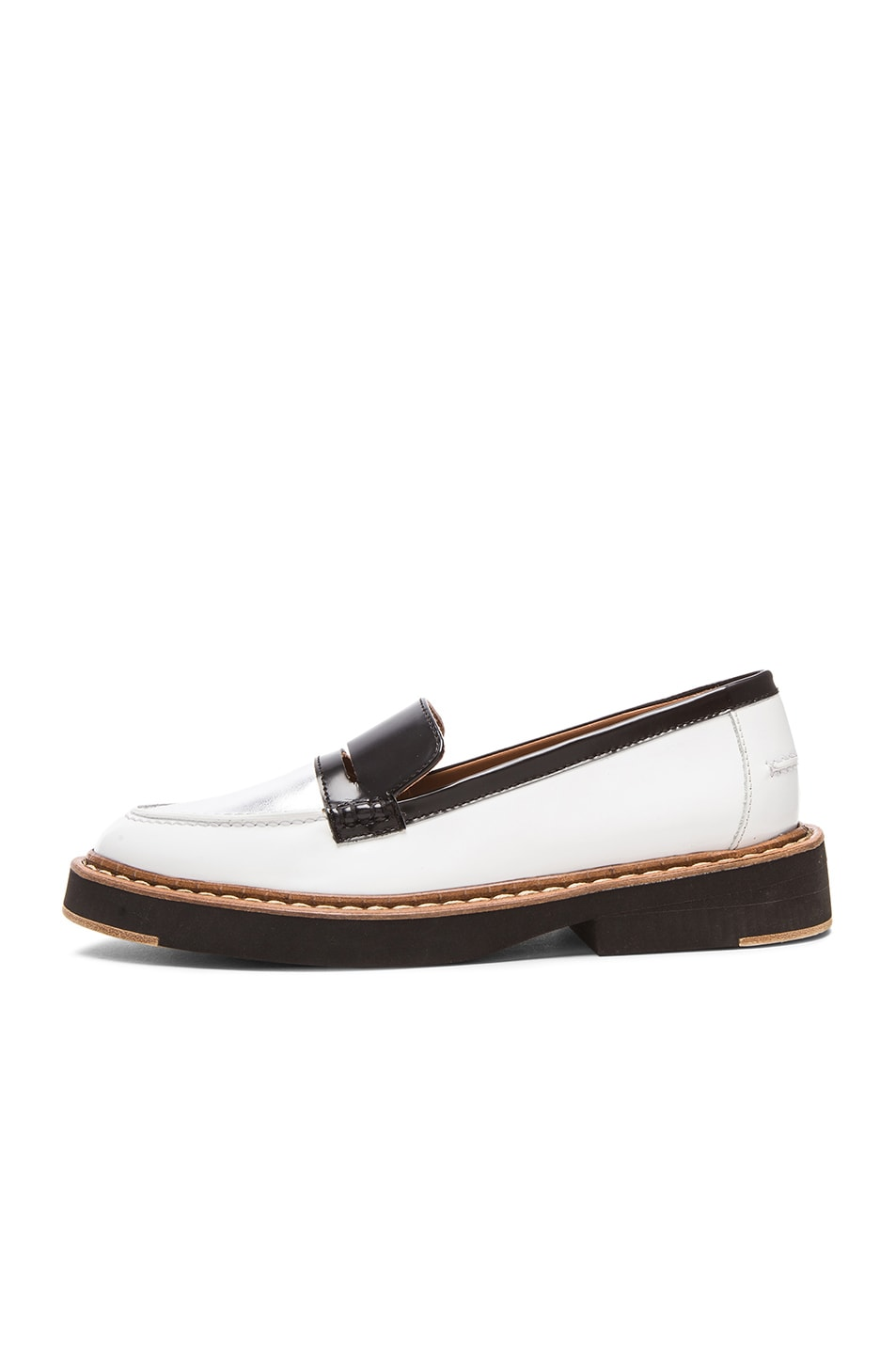 Image 5 of Flamingos Walton Leather Loafers in Black, Silver, & White