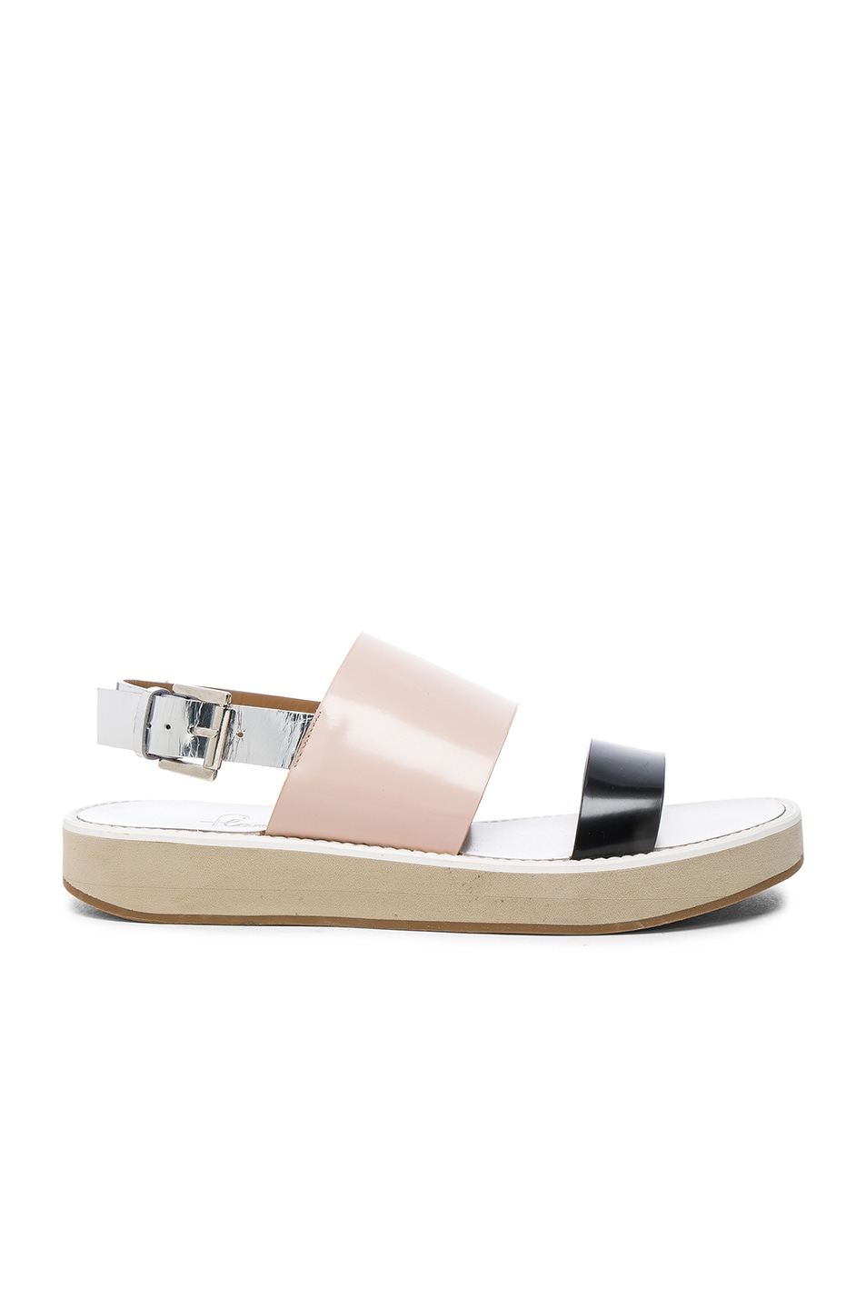 Image 1 of Flamingos Leather Aqualina Sandals in Black, Nude & Silver