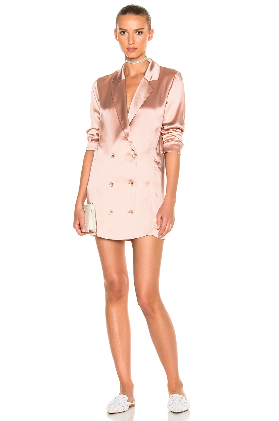 Image 1 of fleur du mal Double Breasted Short Dress in Rose