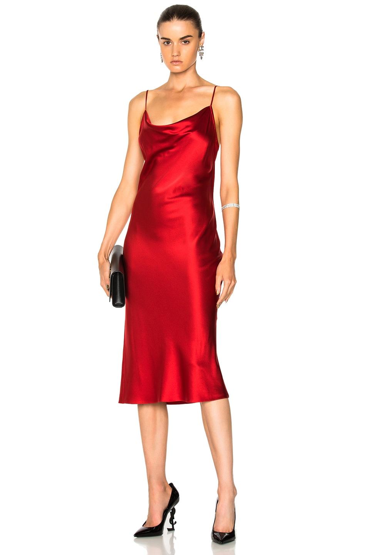 39752b4314ea FLEUR DU MAL Draped Silk-Satin Midi Dress, Red | ModeSens