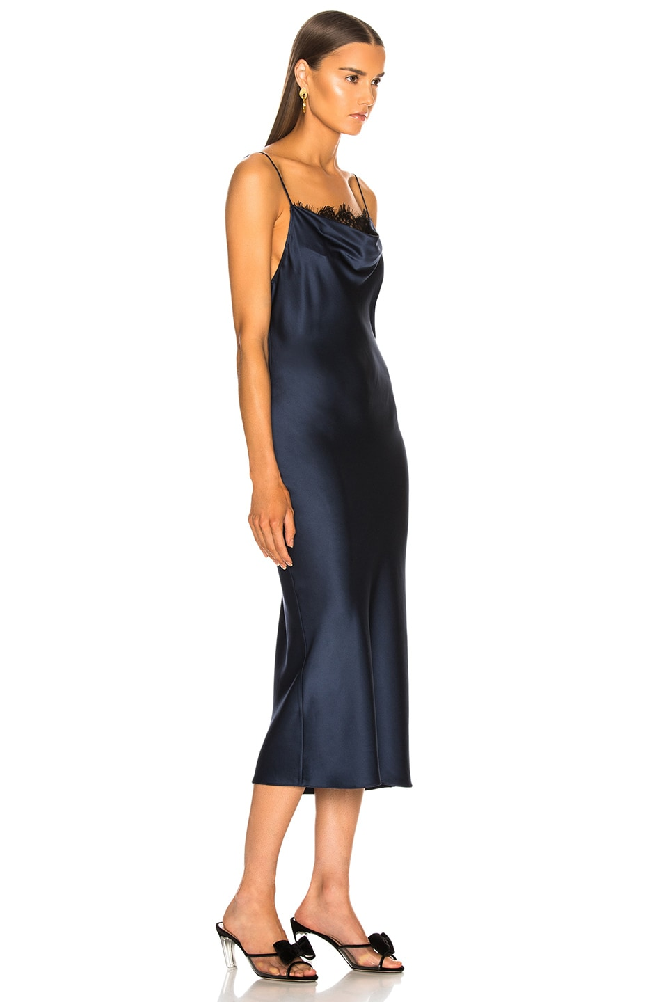 Image 2 of fleur du mal Lace Cowl Neck Slip Dress in Deep Navy a5019671f