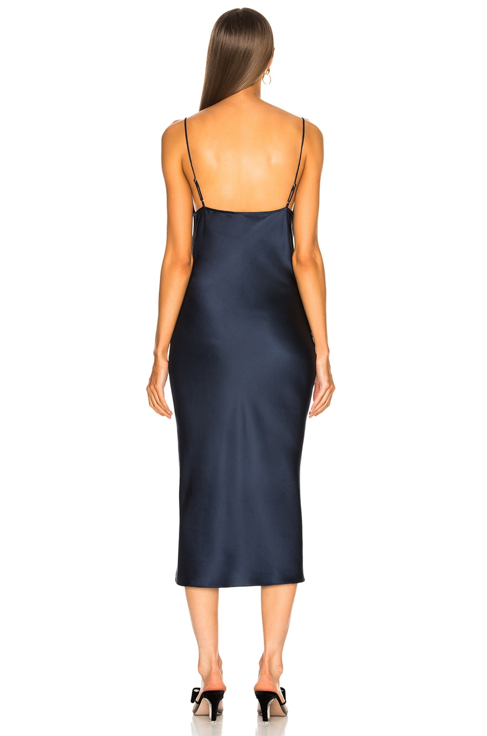 Image 3 of fleur du mal Lace Cowl Neck Slip Dress in Deep Navy a39ef5aba