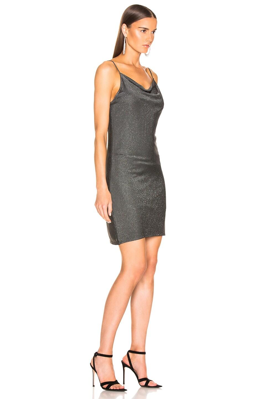 Image 2 of fleur du mal Short Cowl Neck Slip Dress in Sparkle Grey