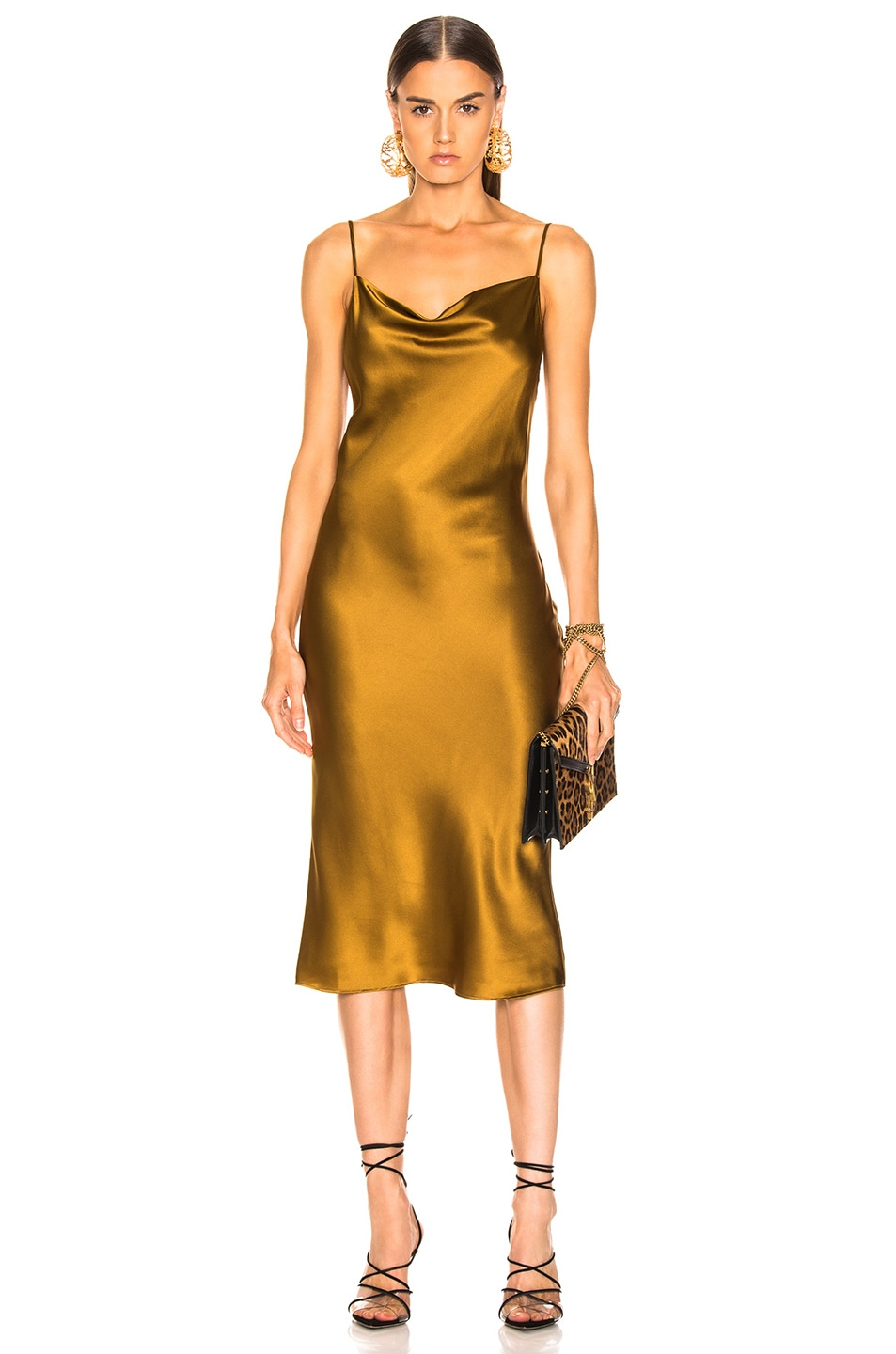 Image 1 of fleur du mal Cowl Neck Slip Dress in Gold Digger