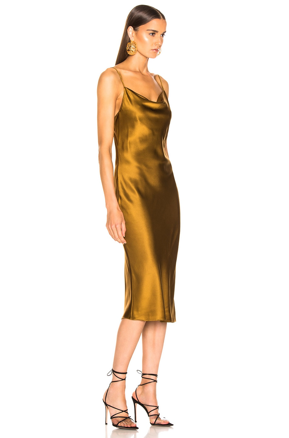 Image 2 of fleur du mal Cowl Neck Slip Dress in Gold Digger