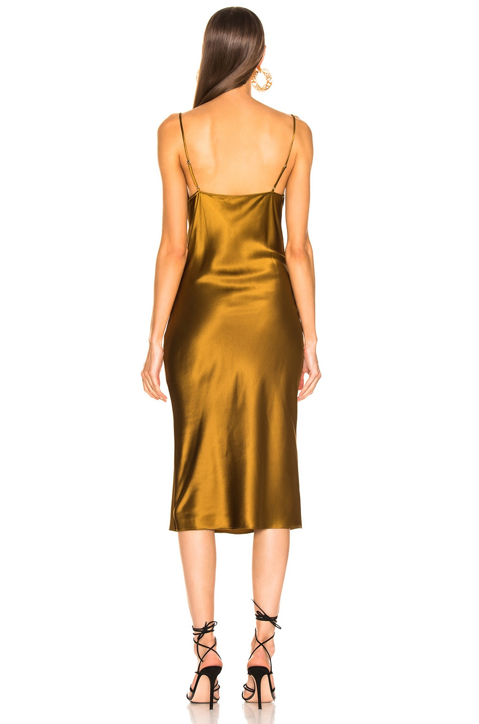 Image 3 of fleur du mal Cowl Neck Slip Dress in Gold Digger