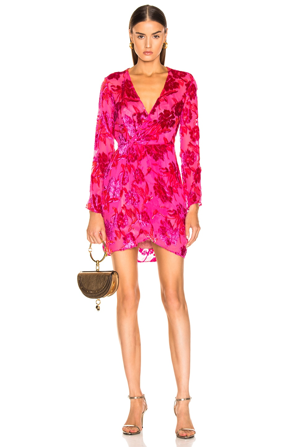 Image 1 of fleur du mal Fil Coupe Mini Wrap Dress in Gia Pink