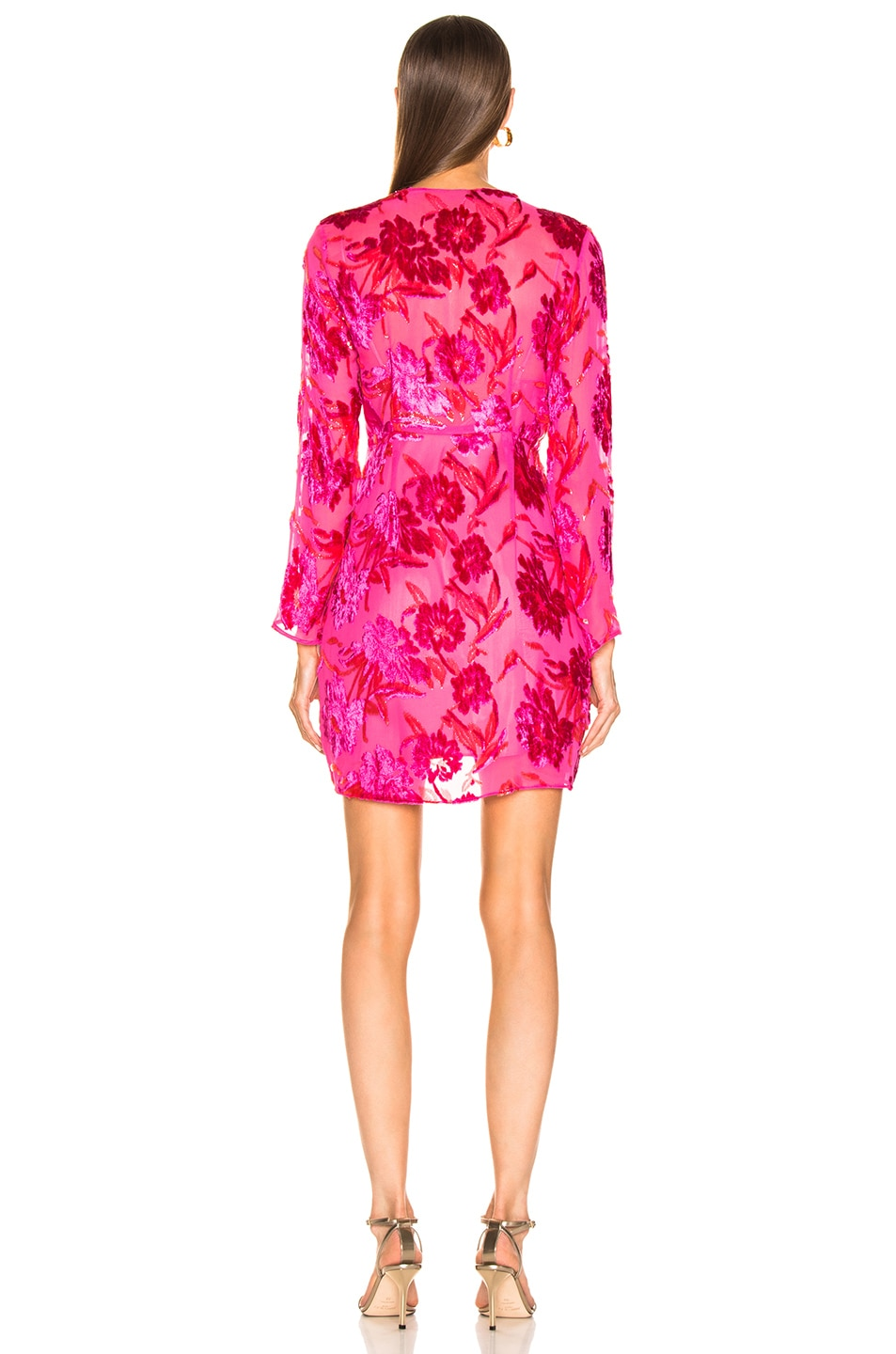 Image 3 of fleur du mal Fil Coupe Mini Wrap Dress in Gia Pink