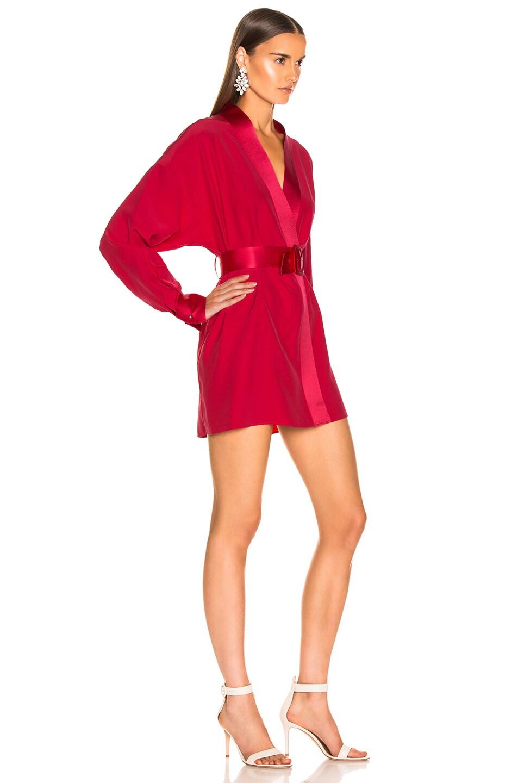 Image 2 of fleur du mal Cufflink Mini Wrap Dress in Red Poppy