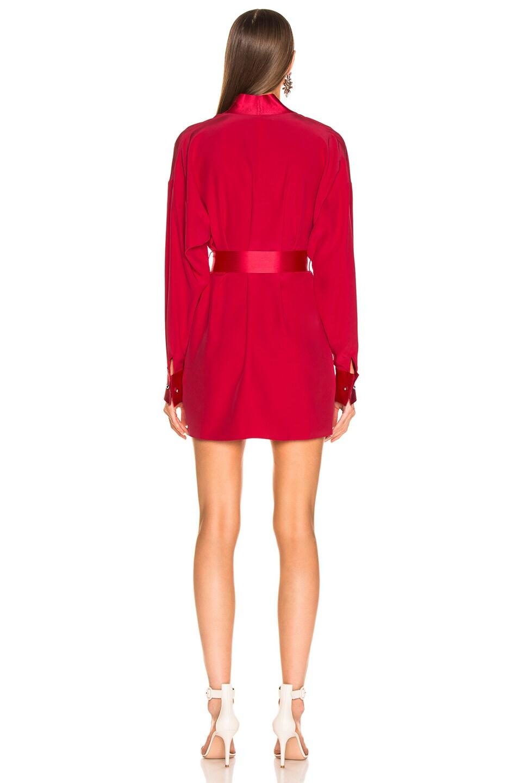 Image 3 of fleur du mal Cufflink Mini Wrap Dress in Red Poppy