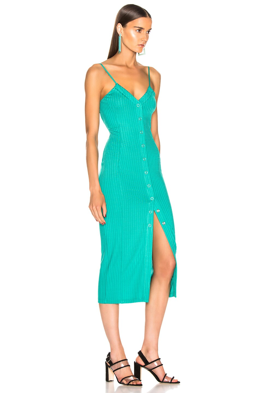 Image 2 of fleur du mal Center Front Snap Jersey Dress in Monaco Green