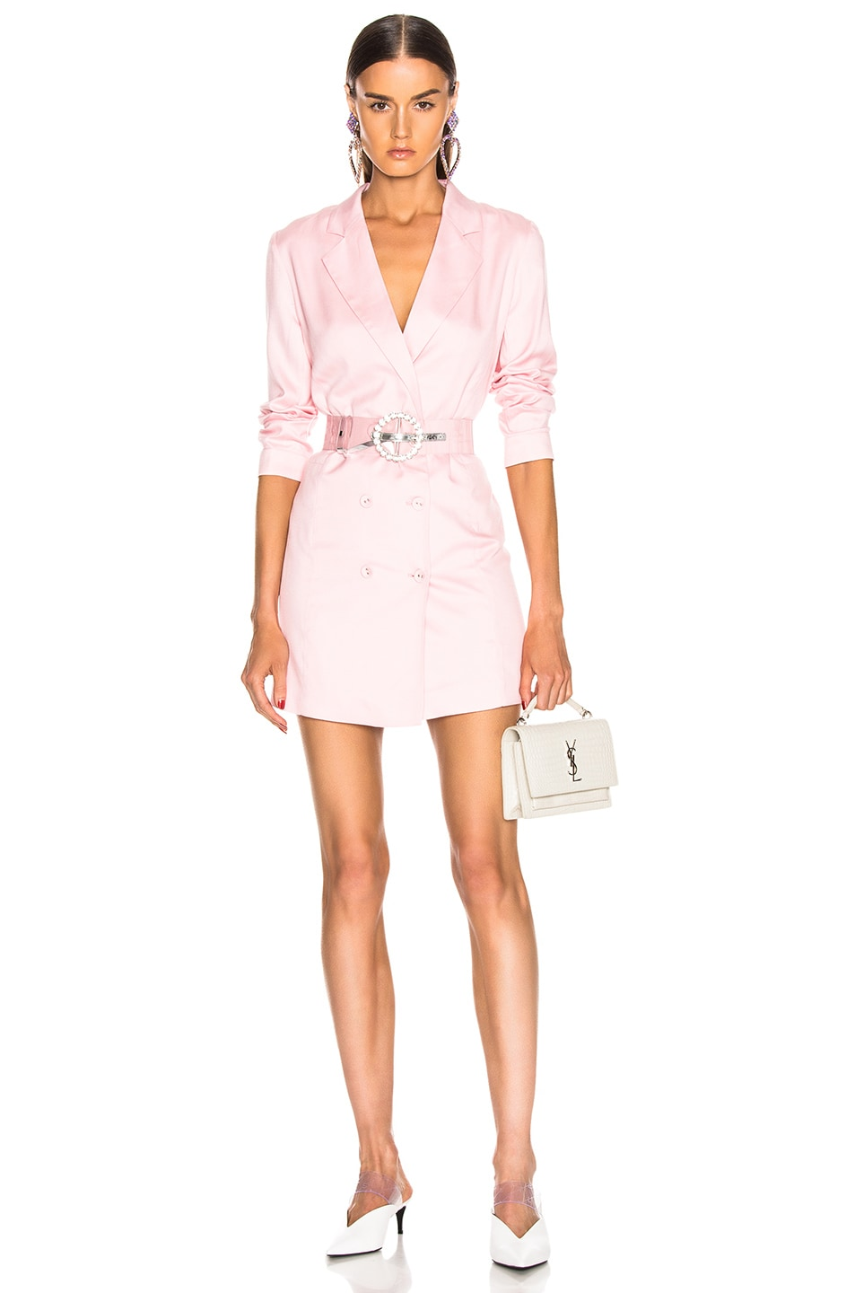 Image 1 of fleur du mal Double Breasted Blazer Dress in Coral Blush