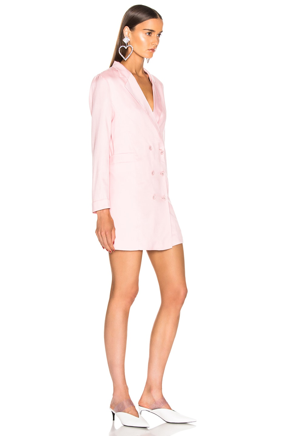 Image 2 of fleur du mal Double Breasted Blazer Dress in Coral Blush