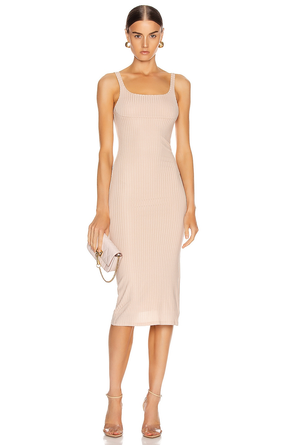 Image 1 of fleur du mal Ribbed Knit Bustier Dress in Tan