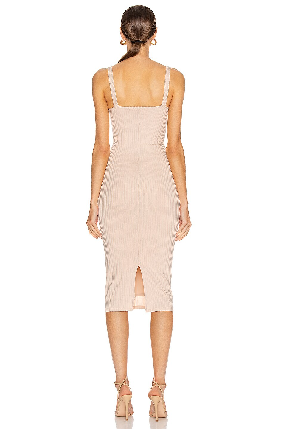Image 3 of fleur du mal Ribbed Knit Bustier Dress in Tan