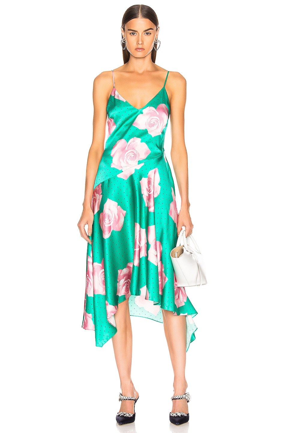 Image 1 of fleur du mal Handkerchief Dress in Mega Rose Print & Monaco Green