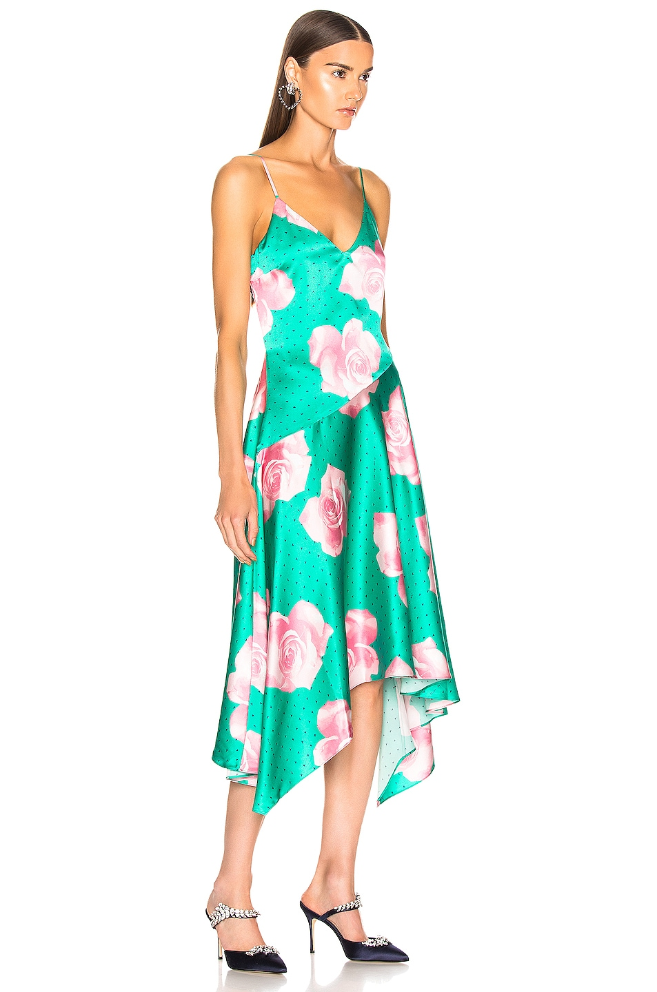 Image 2 of fleur du mal Handkerchief Dress in Mega Rose Print & Monaco Green