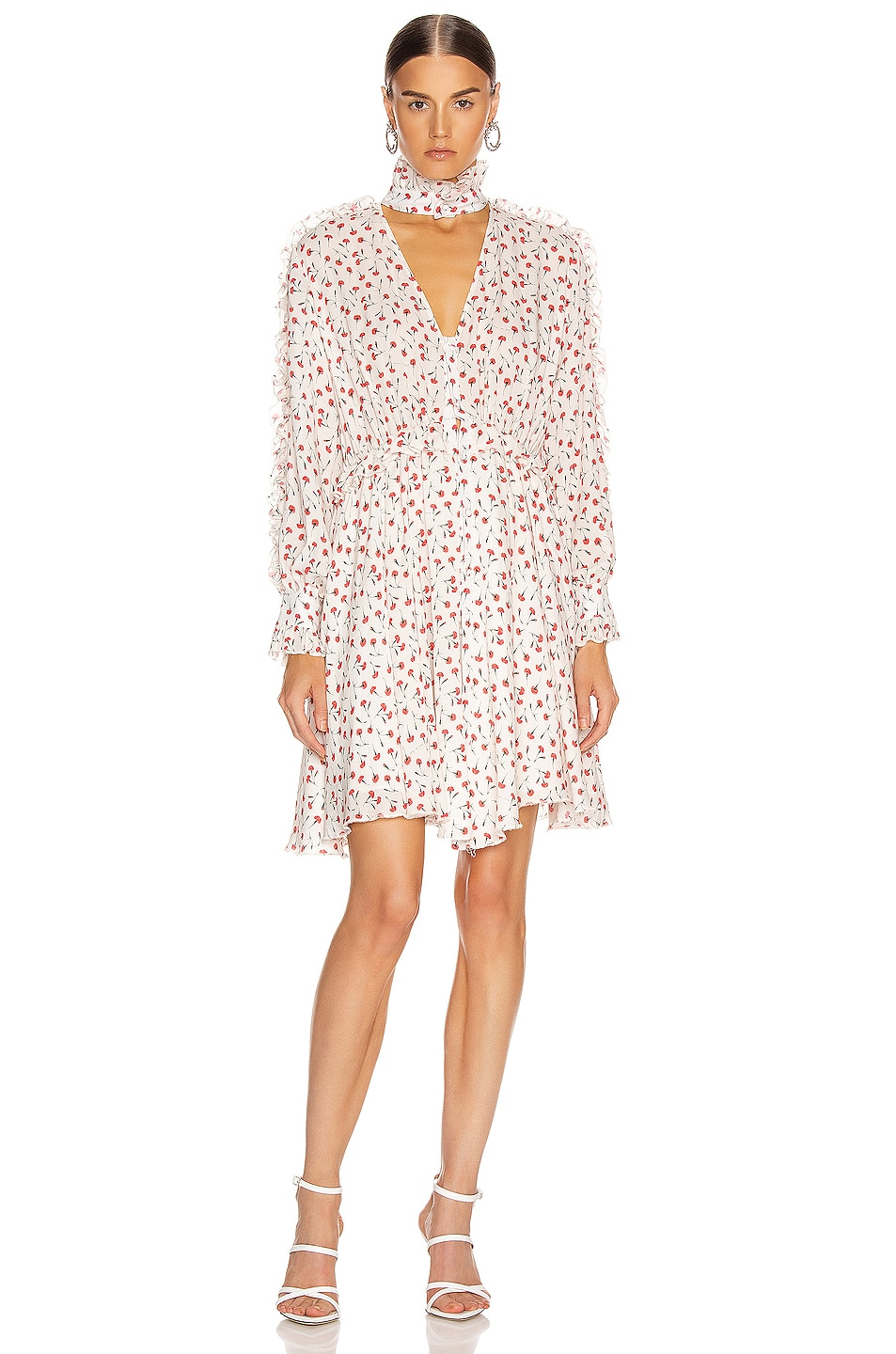 Image 1 of fleur du mal Ruffle Shirt Dress in Fire Opal Carnation