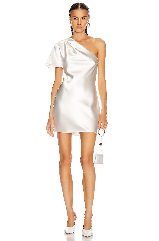 Image 1 of fleur du mal One Shoulder Bias Mini Dress in Ivory
