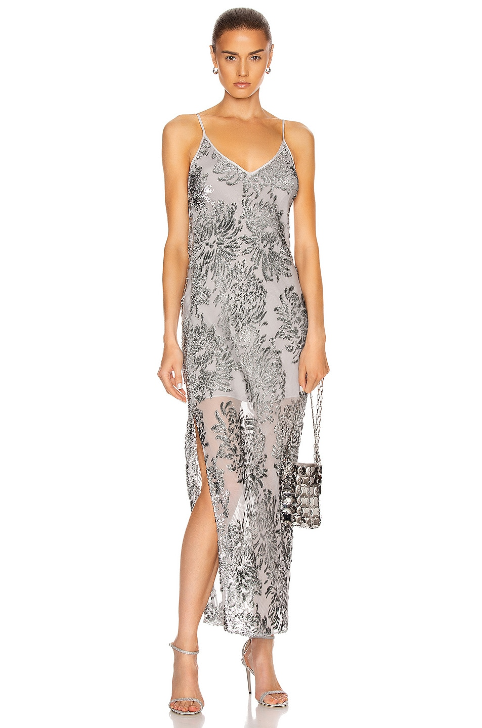 Image 1 of fleur du mal Fil Coupe Slip Dress in Platinum