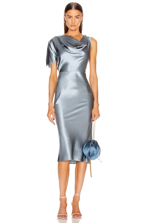 Image 1 of fleur du mal Asymmetrical Cowl Dress in Steel Blue