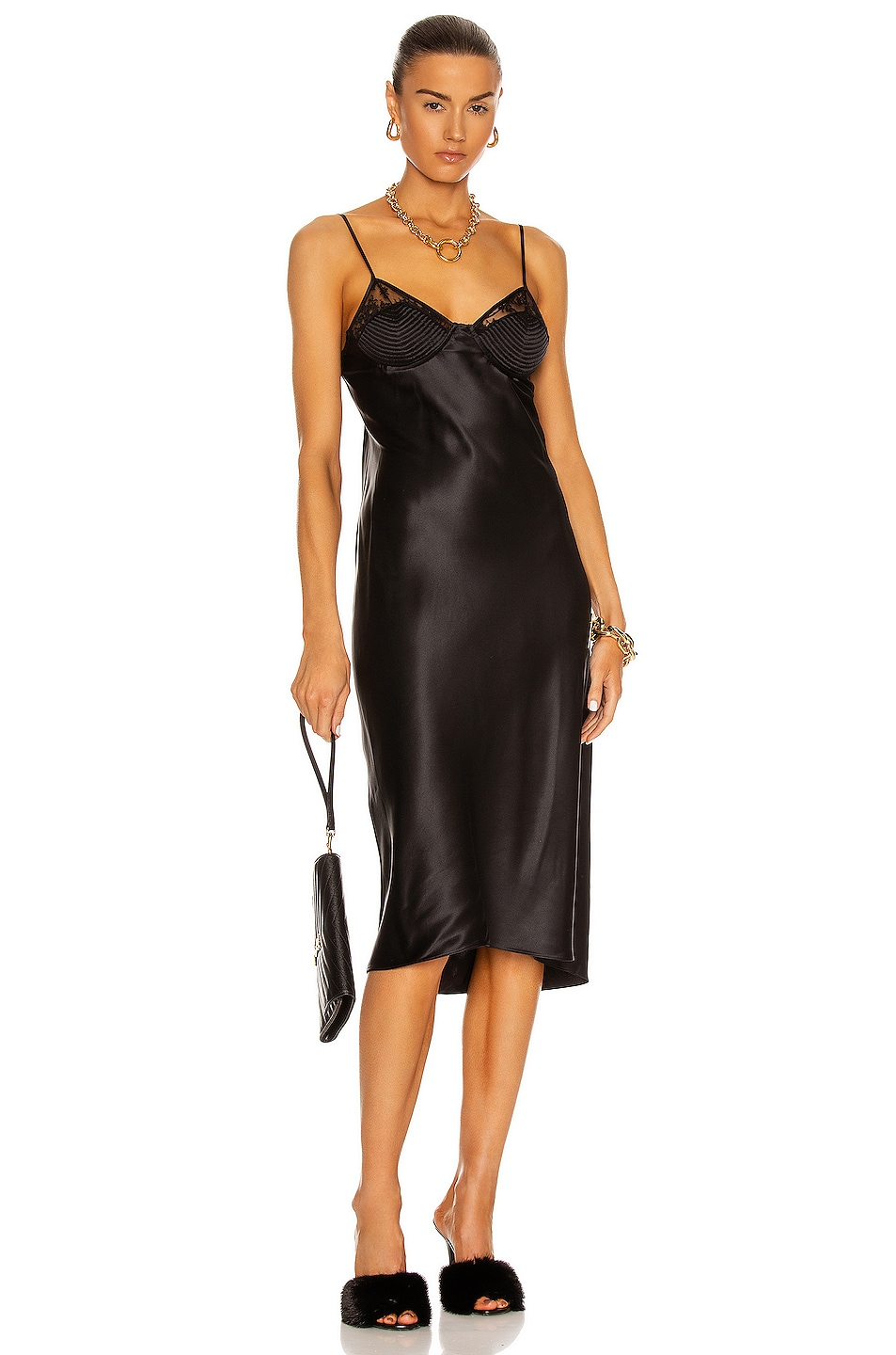 Image 1 of fleur du mal Silk & Lace Slip Dress in Black