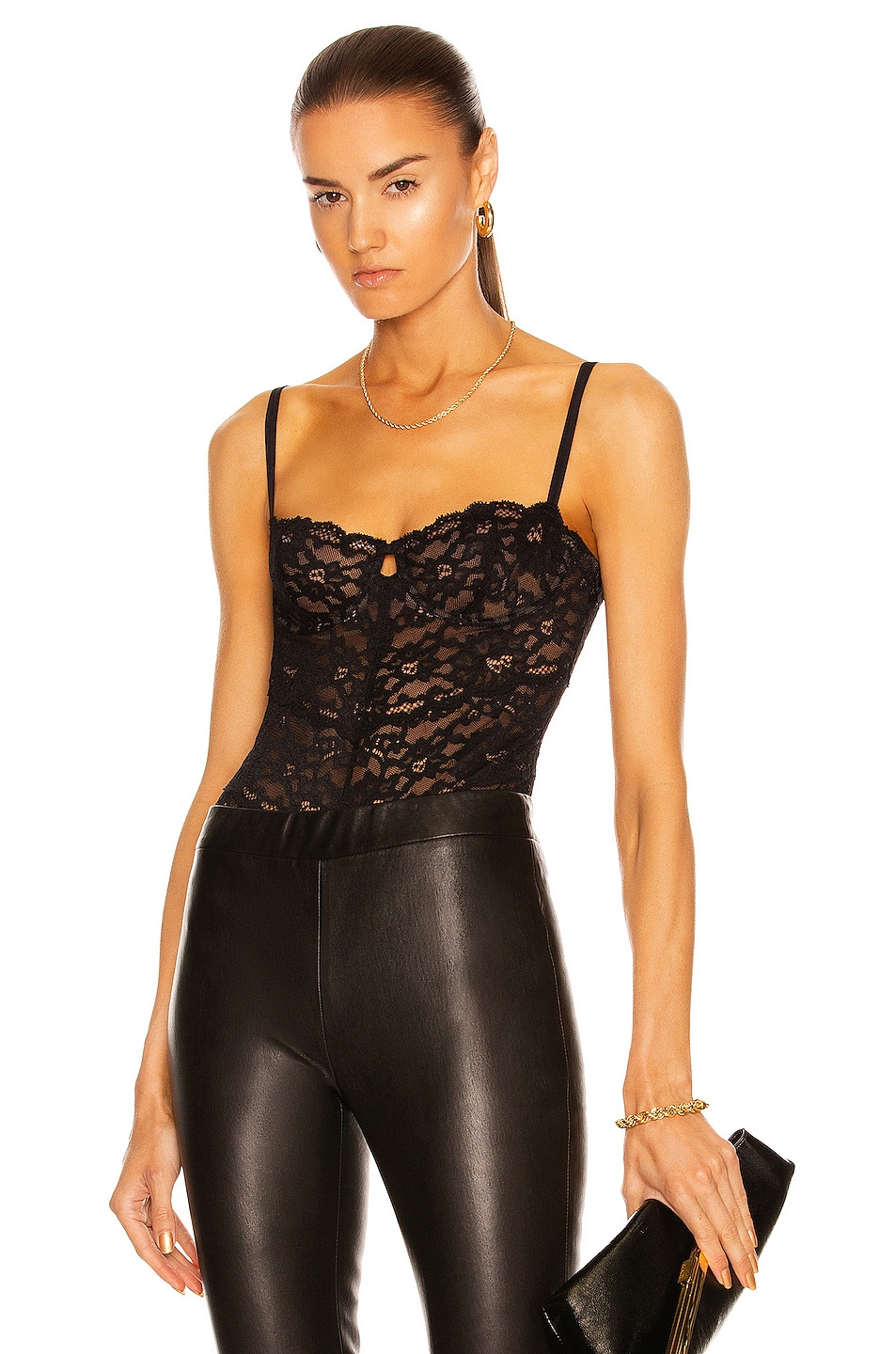 Image 1 of fleur du mal Charlotte Lace Balconette Bodysuit in Black