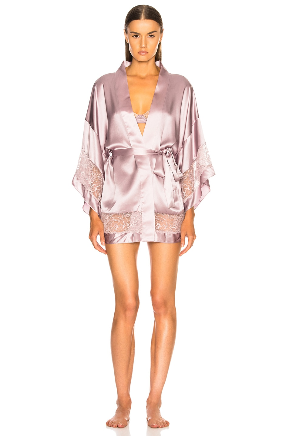 Image 1 of fleur du mal Chateau Lace Kimono in Jasmine Pink