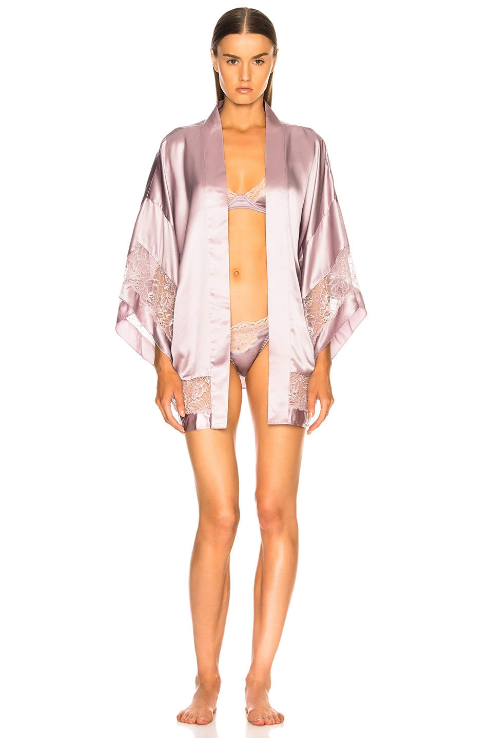Image 2 of fleur du mal Chateau Lace Kimono in Jasmine Pink