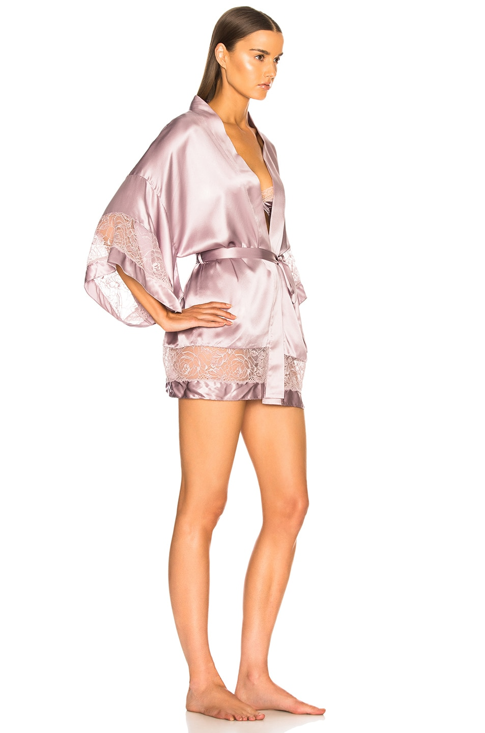Image 3 of fleur du mal Chateau Lace Kimono in Jasmine Pink