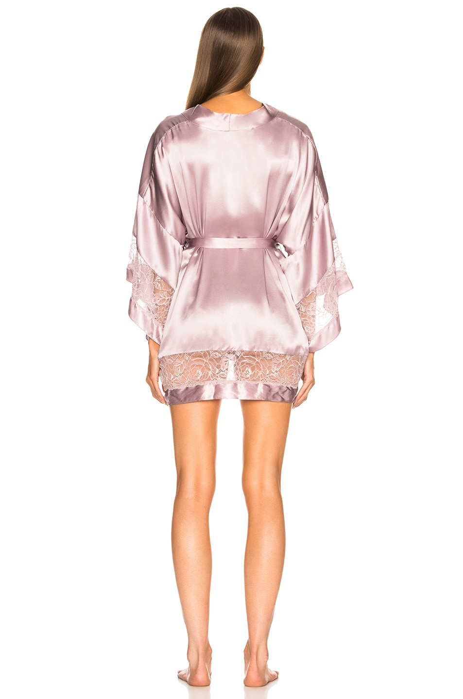 Image 4 of fleur du mal Chateau Lace Kimono in Jasmine Pink