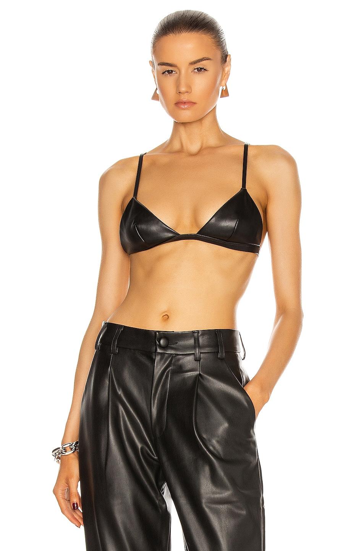 Image 1 of fleur du mal Vegan Leather Triangle Bra in Black