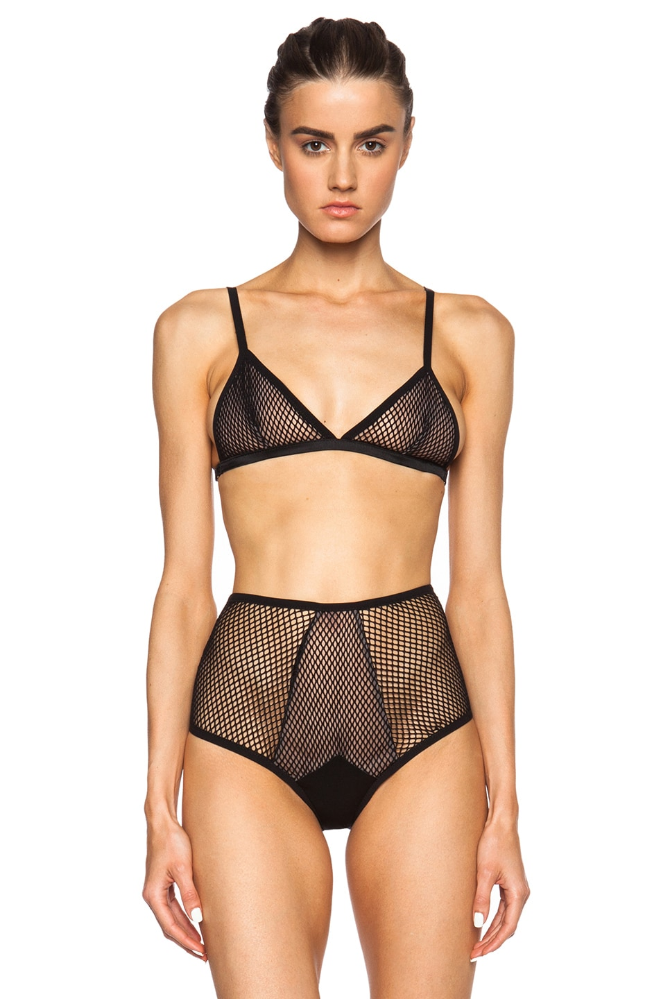 6d1fe729de Image 1 of fleur du mal Fishnet Triangle Bra in Black