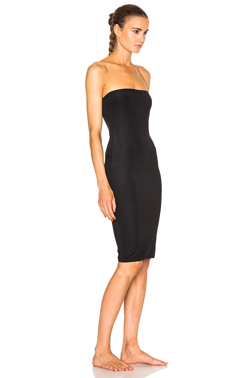 Image 3 of fleur du mal for FWRD Strapless Bodycon Slip in Black