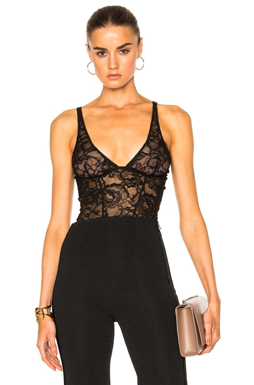 Image 1 of fleur du mal Chat Noir Lace Plunge Bodysuit in Black