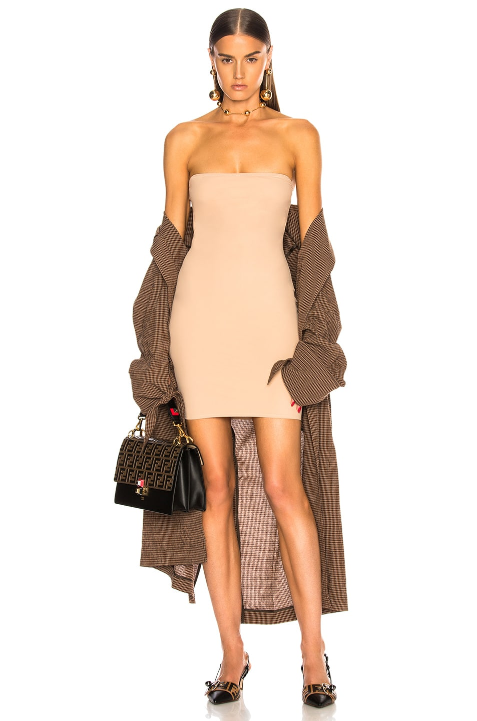 Image 1 of fleur du mal for FWRD Strapless Bodycon Slip in Nude