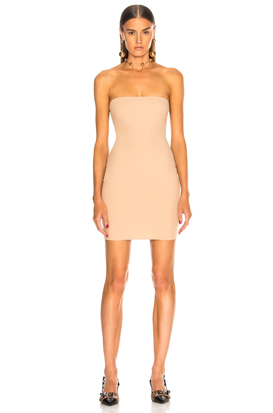 Image 2 of fleur du mal for FWRD Strapless Bodycon Slip in Nude