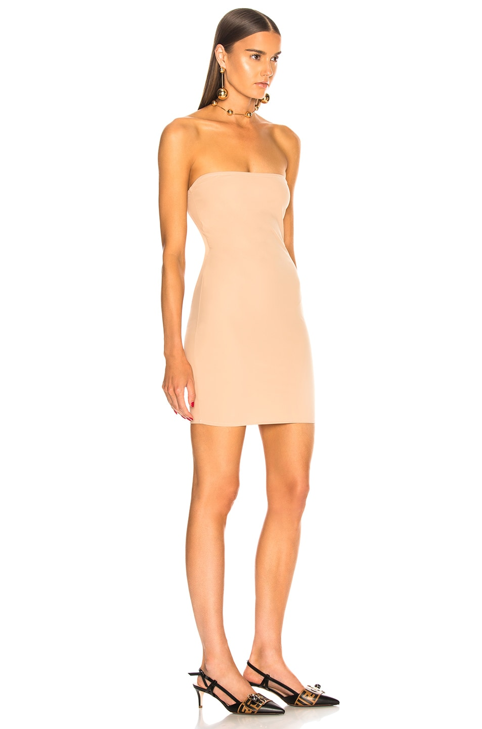 Image 3 of fleur du mal for FWRD Strapless Bodycon Slip in Nude