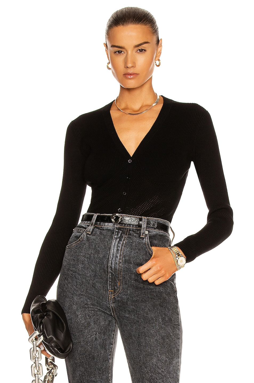 Image 1 of fleur du mal Corset Knit Cardigan in Black