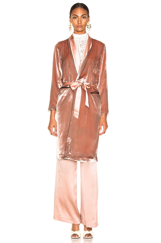 Image 2 of fleur du mal Velvet Smoking Robe in Platinum Rose