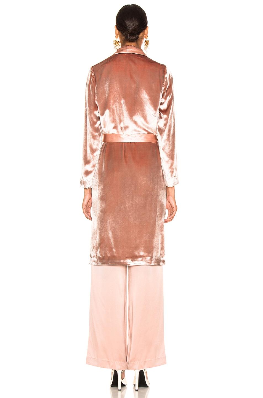 Image 4 of fleur du mal Velvet Smoking Robe in Platinum Rose