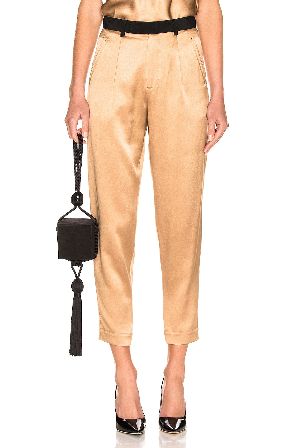 Image 1 of fleur du mal Black Waistband Tapered Pant in Moonstone