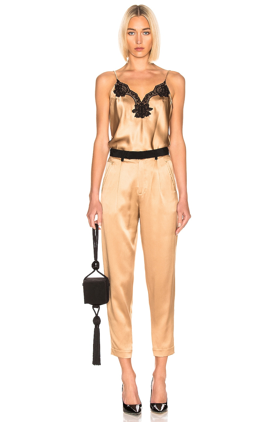 Image 4 of fleur du mal Black Waistband Tapered Pant in Moonstone