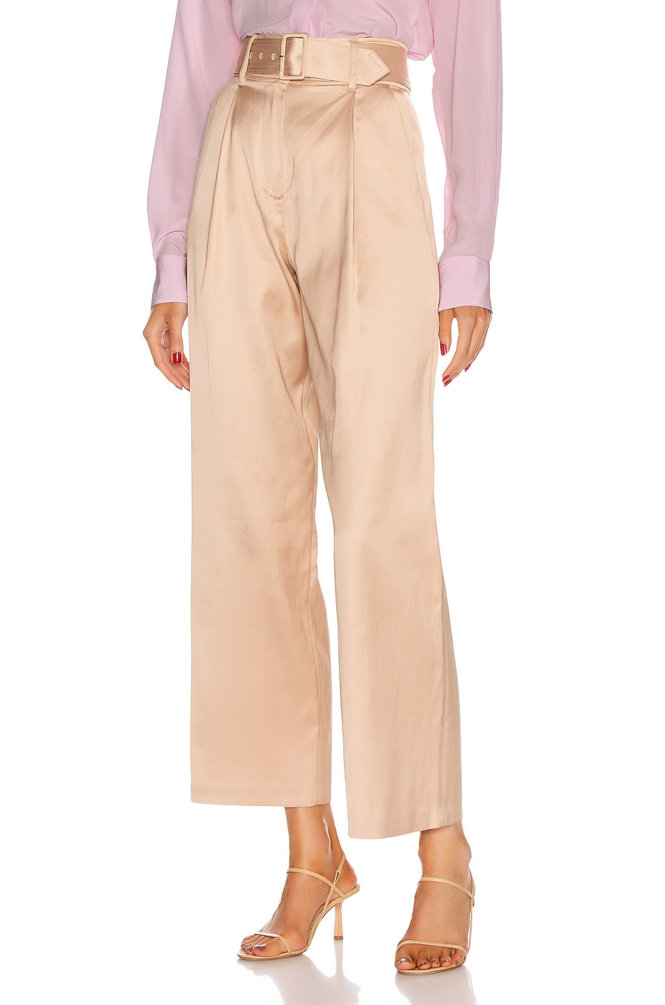Image 1 of fleur du mal Twill Belted Trouser in Safari