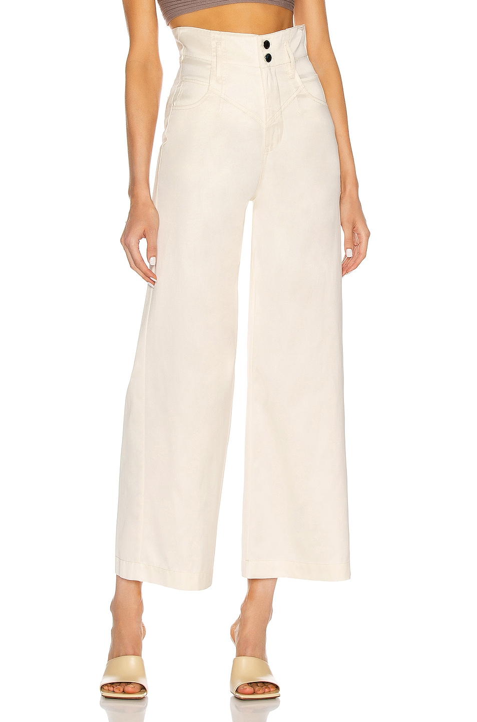 Image 1 of fleur du mal Twill High Waist Pant in Ivory