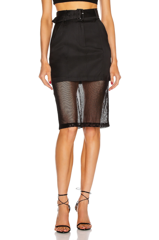 Image 1 of fleur du mal Sheer Pencil Skirt in Black