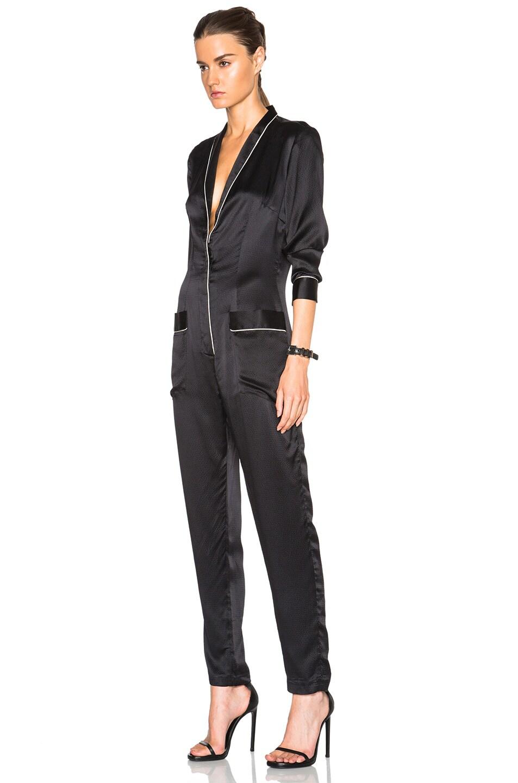 Image 2 of fleur du mal Pajama Jumpsuit in Black